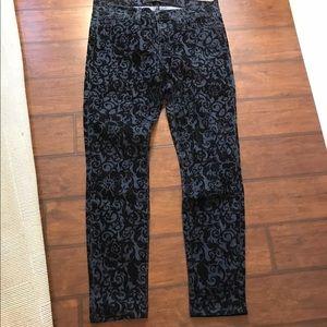 J Brand skinny leg black brocad jeans size 29